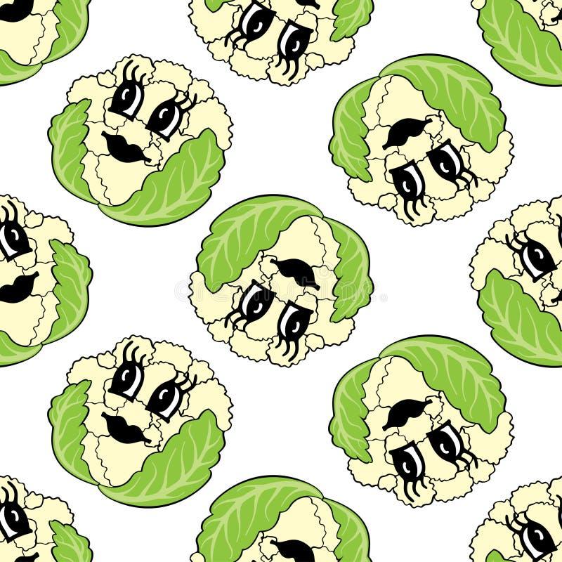 Teste padrão sem emenda da couve-flor vegetal engraçada dos desenhos animados ilustração stock