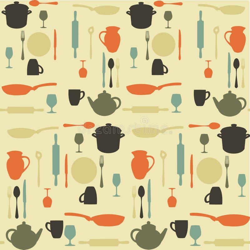 Teste padrão sem emenda da cozinha ilustração stock