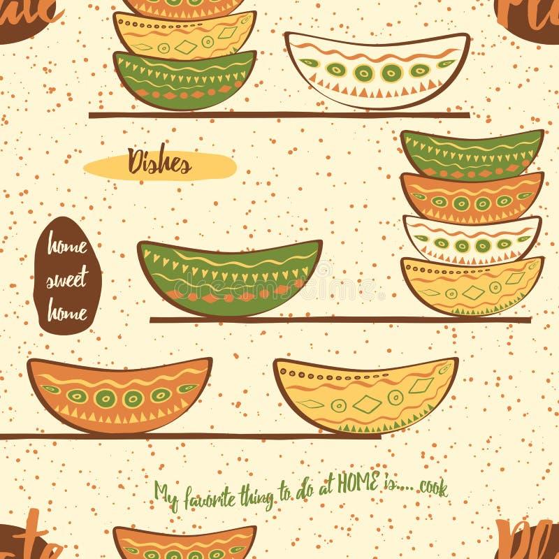 Teste padrão sem emenda da cozinha com a mão que tira placas coloridas bonitos na prateleira ilustração stock