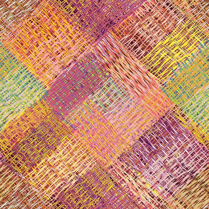 Teste padrão sem emenda da culpa diagonal colorida com grunge listrado, ondulado, elementos quadrados do weave ilustração stock
