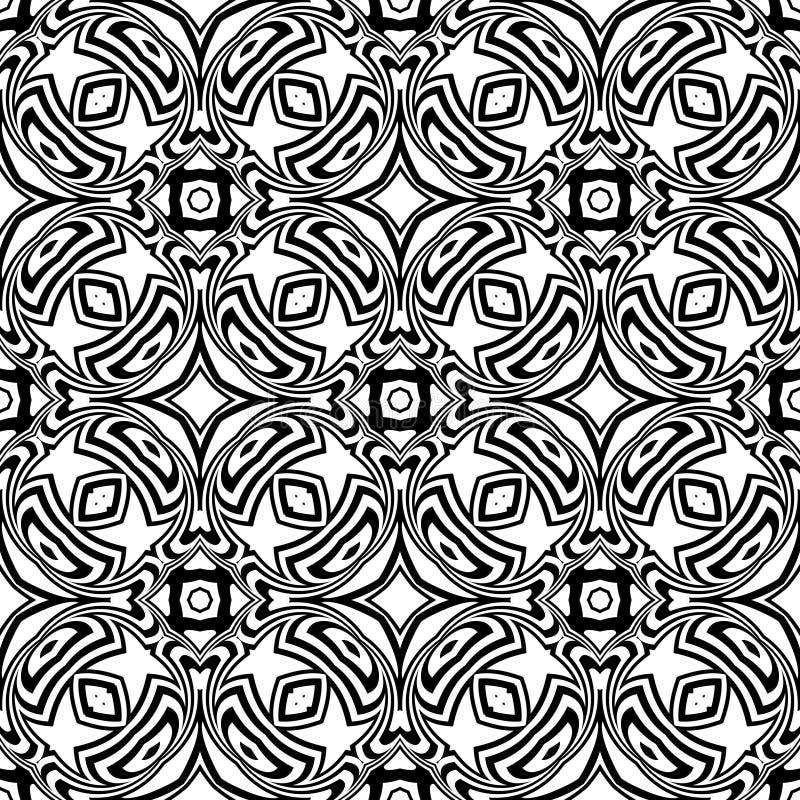 Teste padrão sem emenda da curva do vetor preto e branco Papel de parede abstrato do fundo Ilustração do vetor ilustração royalty free