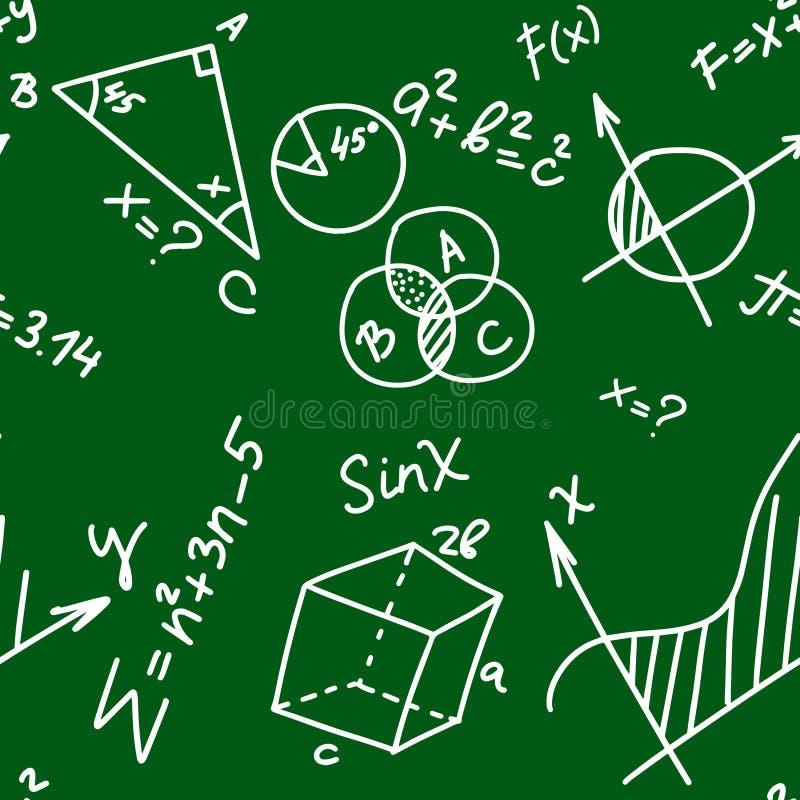 Teste padrão sem emenda da educação com fórmulas da matemática e da geometria da garatuja e problemas no fundo verde do quadro ilustração do vetor