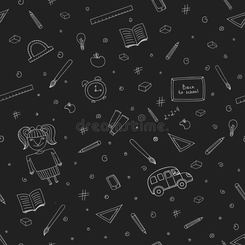 Teste padrão sem emenda da escola criativa isolado no fundo preto ilustração royalty free