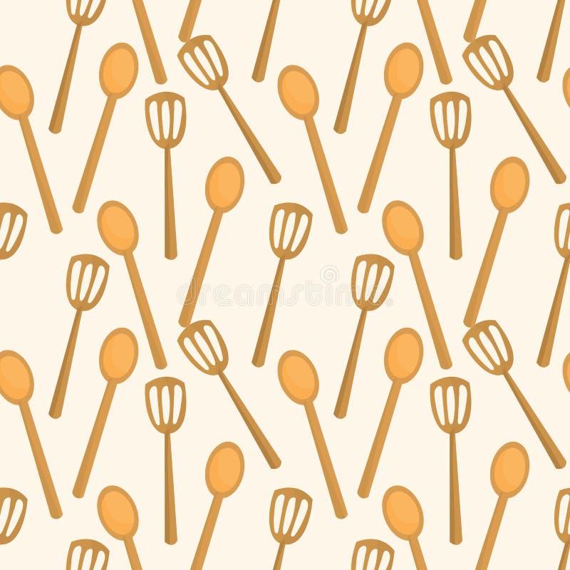 Teste padrão sem emenda da espátula da cozinha ilustração do vetor