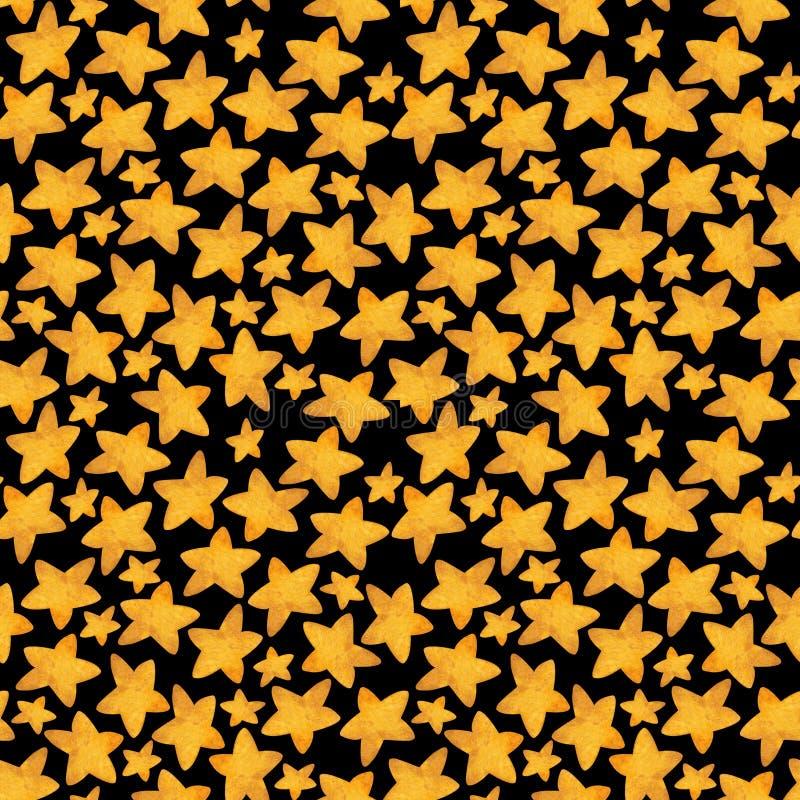 Teste padr?o sem emenda da estrela amarela como cookies Ilustra??o da aguarela fotos de stock royalty free