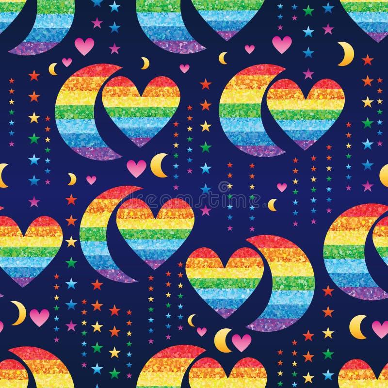 Teste padrão sem emenda da estrela do brilho do arco-íris do amor da meia lua ilustração stock