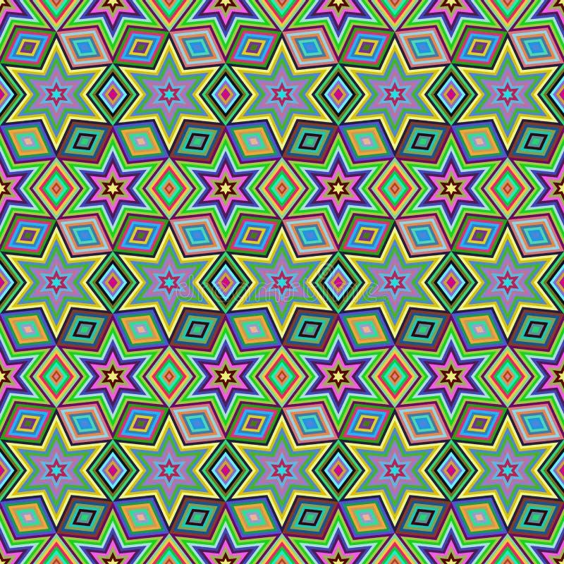 teste padrão sem emenda da estrela geométrica Projeto gráfico da forma Ilustração do vetor Projeto do fundo Ilusão ótica 3D a à m ilustração stock