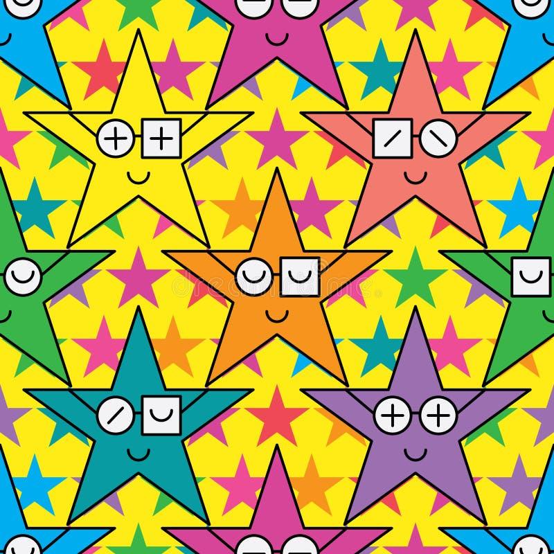 Teste padrão sem emenda da estrela da simetria dos vidros do desgaste da estrela ilustração stock