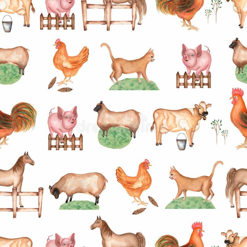 Teste padr?o sem emenda da explora??o agr?cola da aquarela Objetos tirados m?o: gato, porco, cerca, grama, carneiro, cavalo, galo ilustração royalty free
