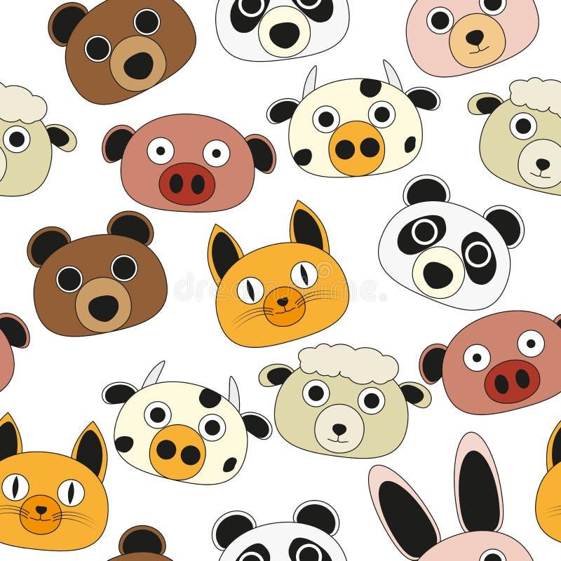Teste padrão sem emenda da face animal ilustração stock
