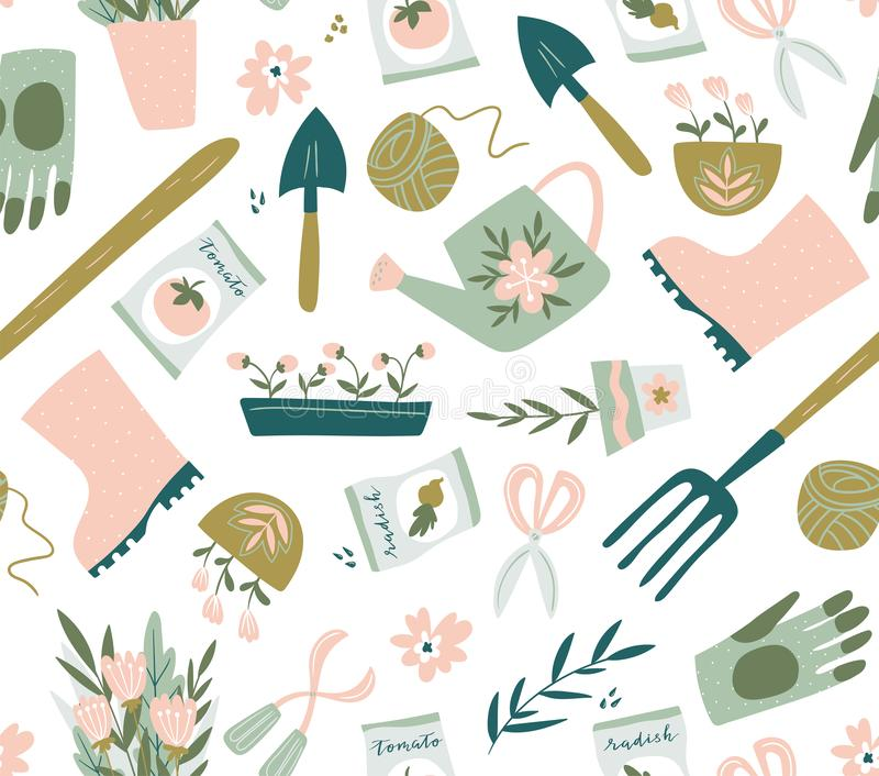Teste padrão sem emenda da ferramenta de jardim Ilustração do vetor de elementos de jardinagem Jardinagem feliz ilustração stock