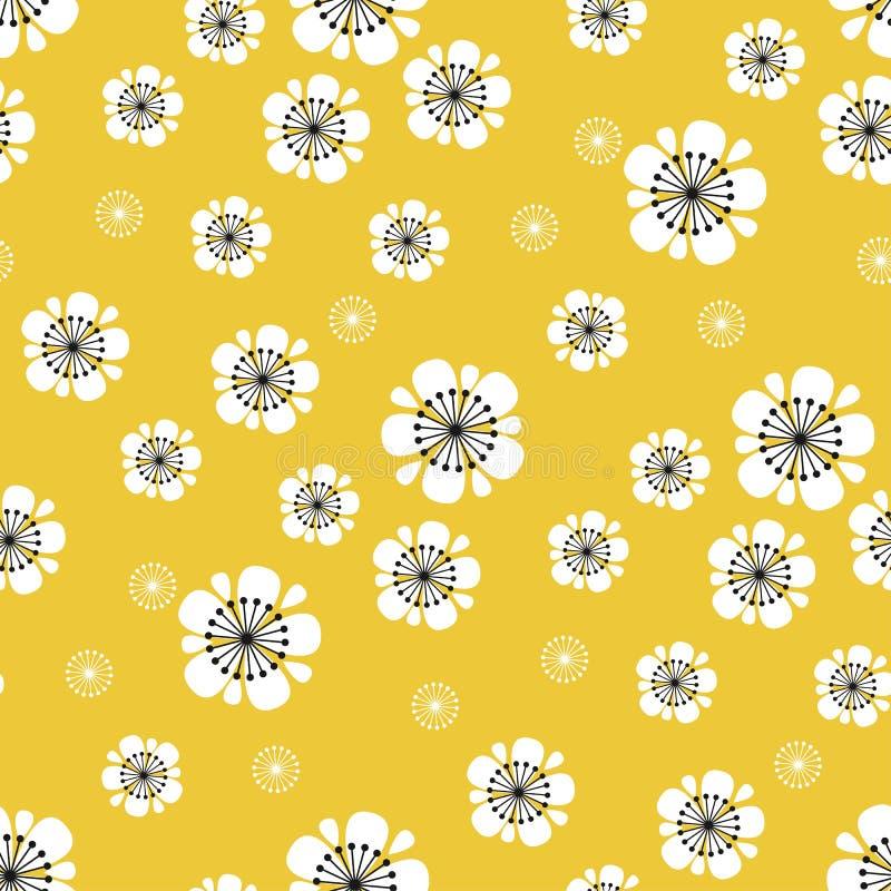 Teste padrão sem emenda da flor branca abstrata de sakura Mola que blumming o relatório floral no estilo do vintage 60s ilustração royalty free