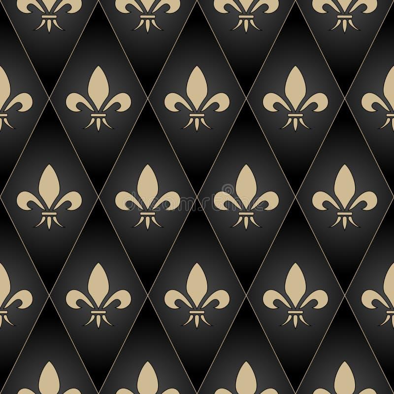 Teste padrão sem emenda da flor de lis dourada Brilho do ouro e ilustração preta do vetor ilustração stock