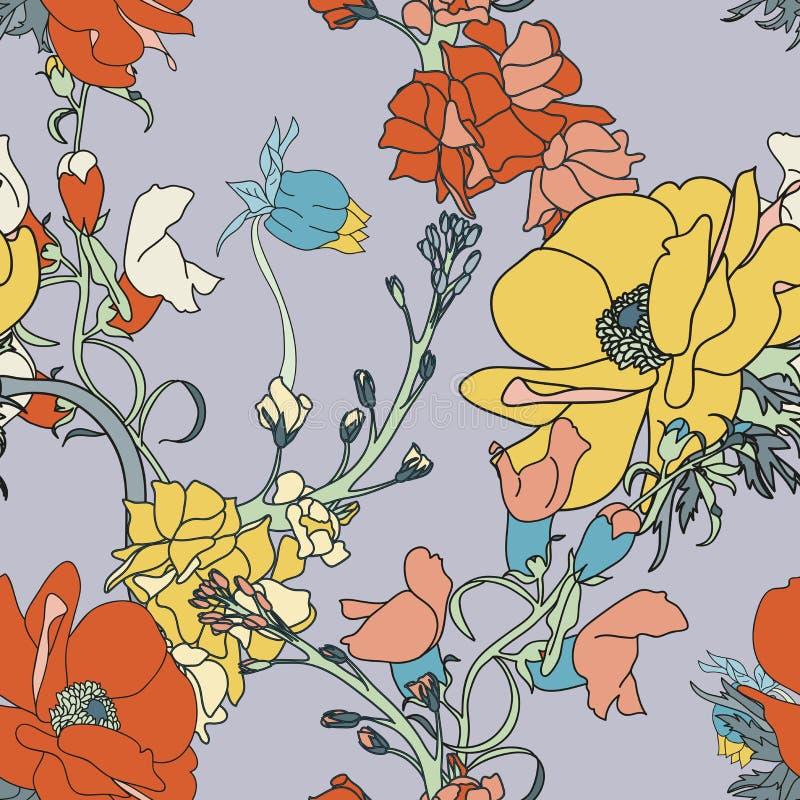 Teste padrão sem emenda da flor do vetor fotos de stock royalty free