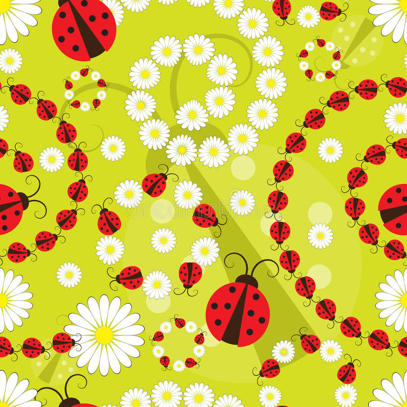 Teste padrão sem emenda da flor e da joaninha ilustração do vetor