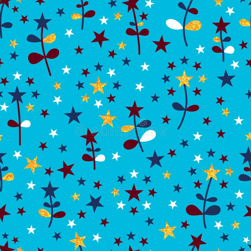 Teste padrão sem emenda da flor da estrela das cores dos EUA ilustração stock
