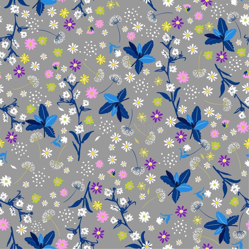 Teste padrão sem emenda da flor pastel da liberdade, i na moda delicado elegante ilustração stock