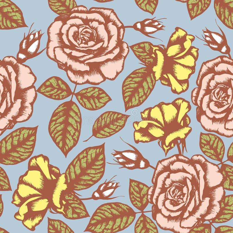 Teste padrão sem emenda da flor retro ilustração royalty free
