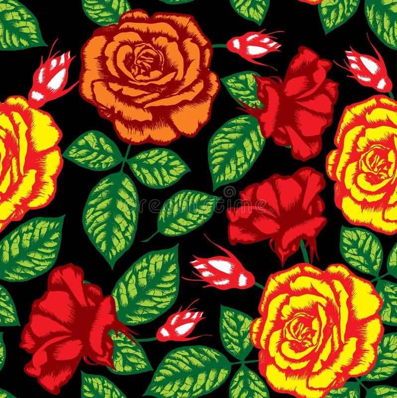 Teste padrão sem emenda da flor retro ilustração stock