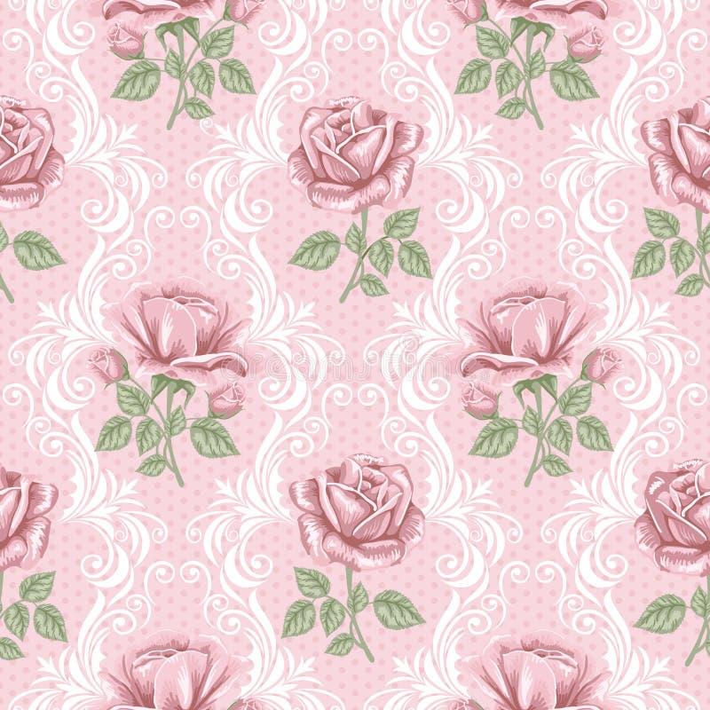 Teste padrão sem emenda da flor retro - rosas ilustração royalty free