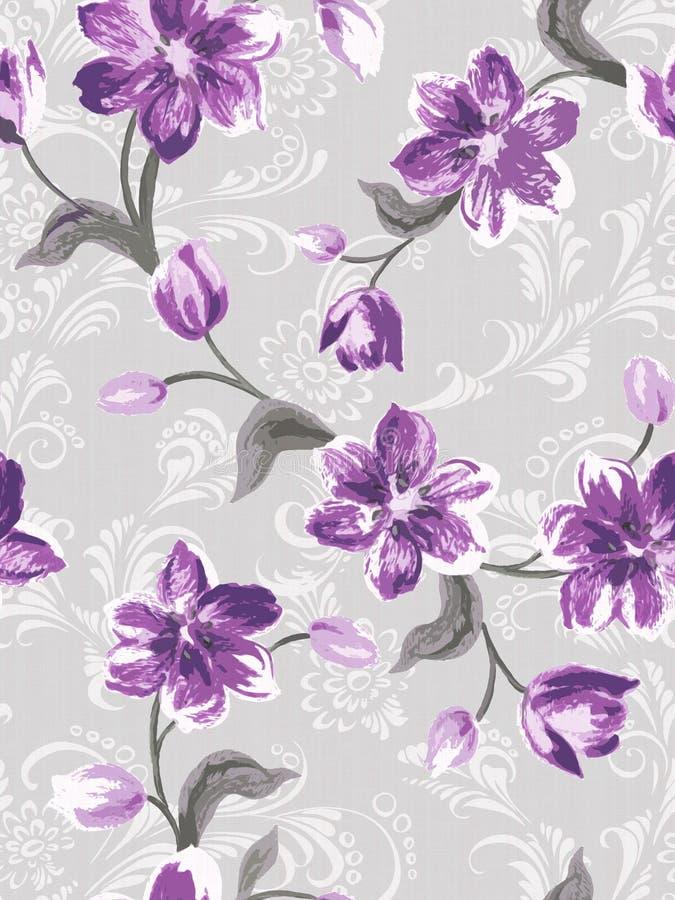 Teste padrão sem emenda da flor roxa ilustração do vetor