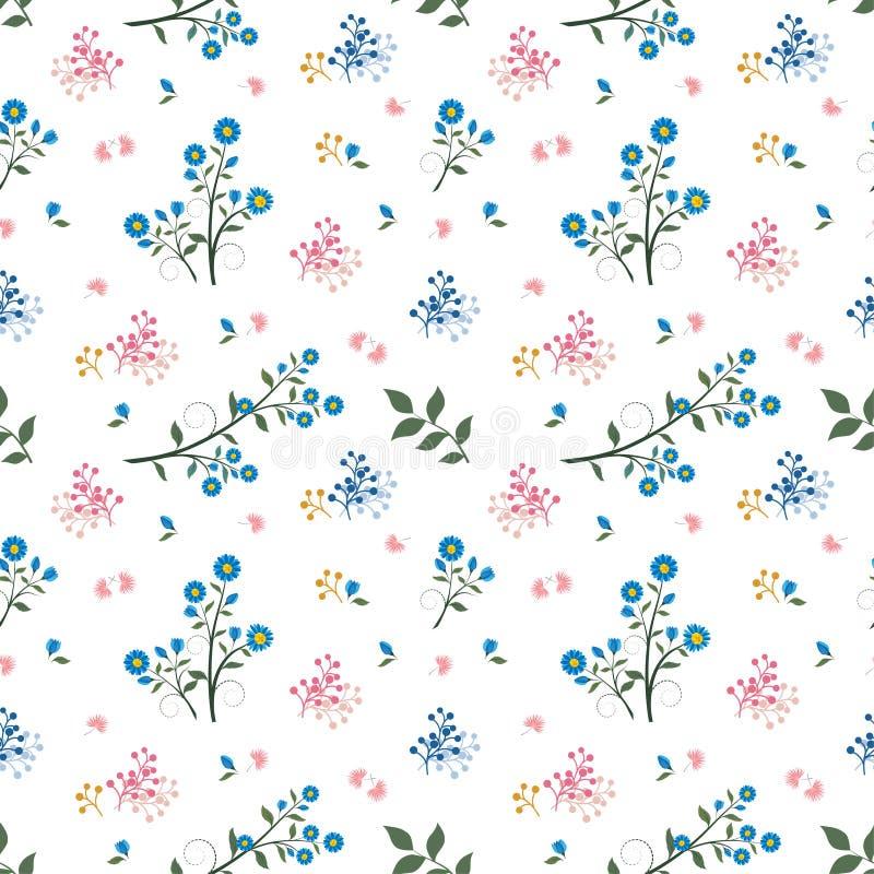 Teste padrão sem emenda da flor selvagem no humor azul e cor-de-rosa ilustração do vetor