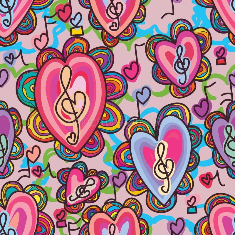 Teste padrão sem emenda da flor surpreendente da música do amor da benevolência ilustração do vetor