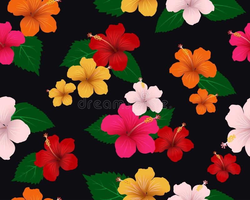 Teste padrão sem emenda da flora tropical com flores e folhas do hibiscus no fundo escuro ilustração royalty free