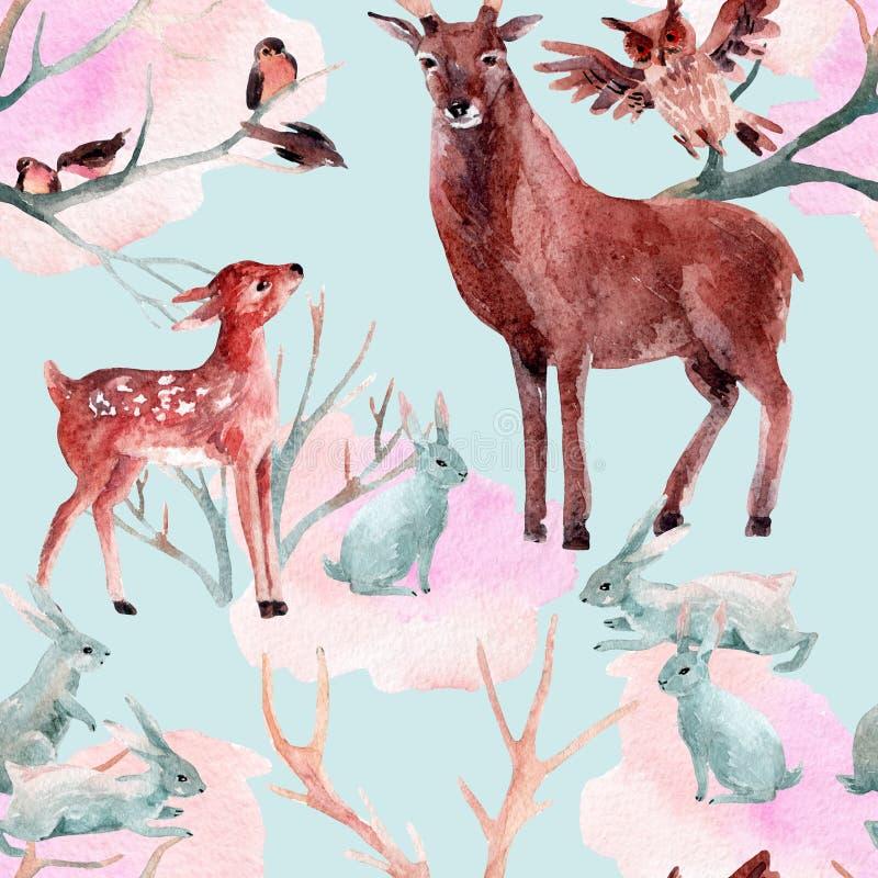 Teste padrão sem emenda da floresta do inverno ilustração stock