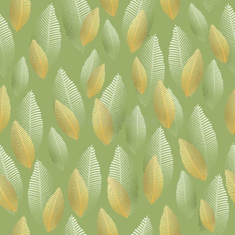 Teste padrão sem emenda da folha com textura do ouro e da folha de prata ilustração stock