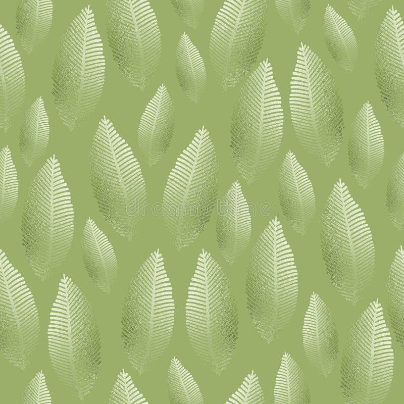 Teste padrão sem emenda da folha com textura verde de prata da folha ilustração do vetor