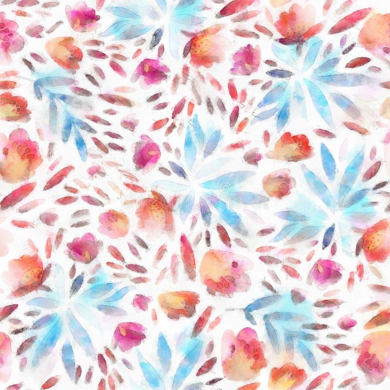 Teste padrão sem emenda da folha da aquarela com o fundo bonito abstrato decorativo das flores detalhado ilustração do vetor