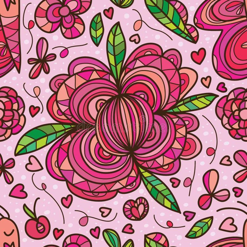 Teste padrão sem emenda da folha da bola da flor ilustração stock