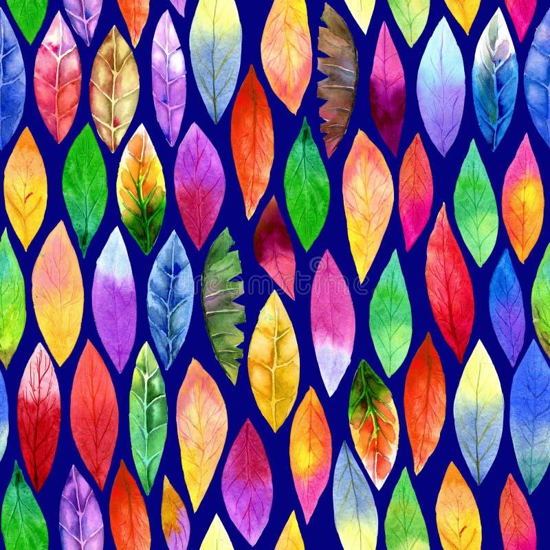 Teste padrão sem emenda da folha diferente colorida Cores abstratas, alegres ilustração stock