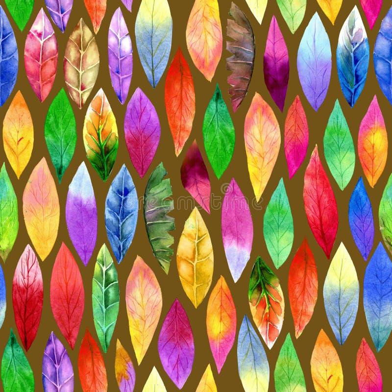 Teste padrão sem emenda da folha diferente colorida Cores abstratas, alegres ilustração do vetor