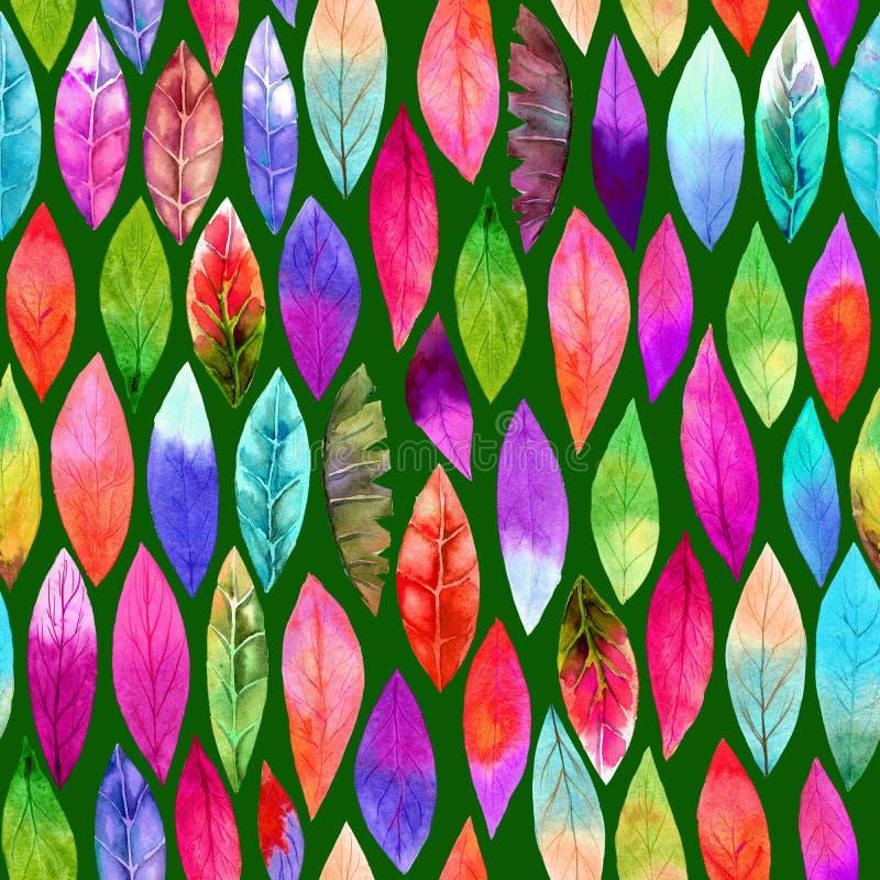 Teste padrão sem emenda da folha diferente colorida Cores abstratas, alegres ilustração royalty free