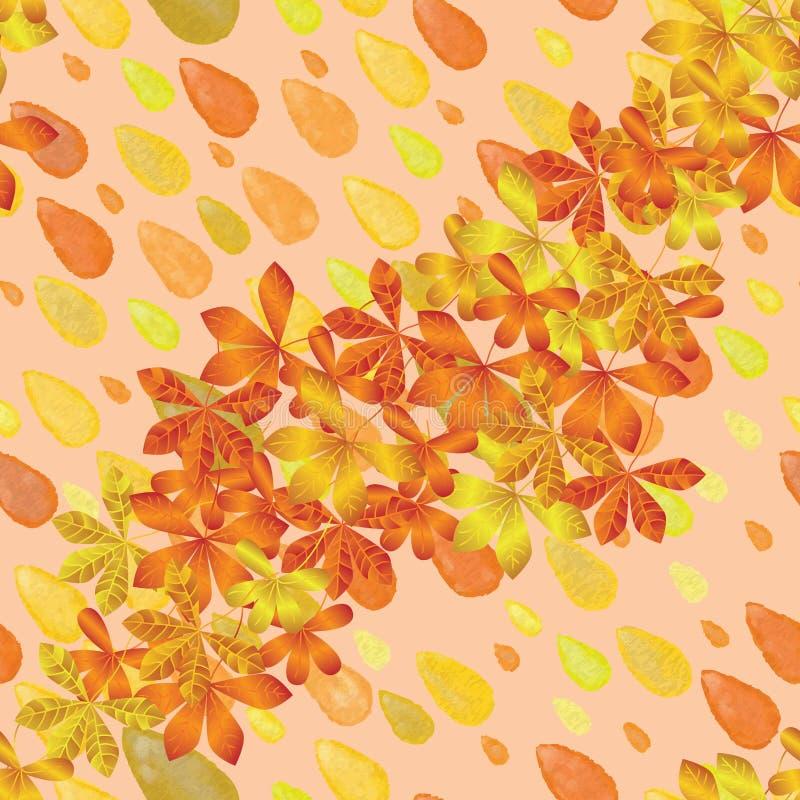 Teste padrão sem emenda da folha do outono da aquarela da gota ilustração stock