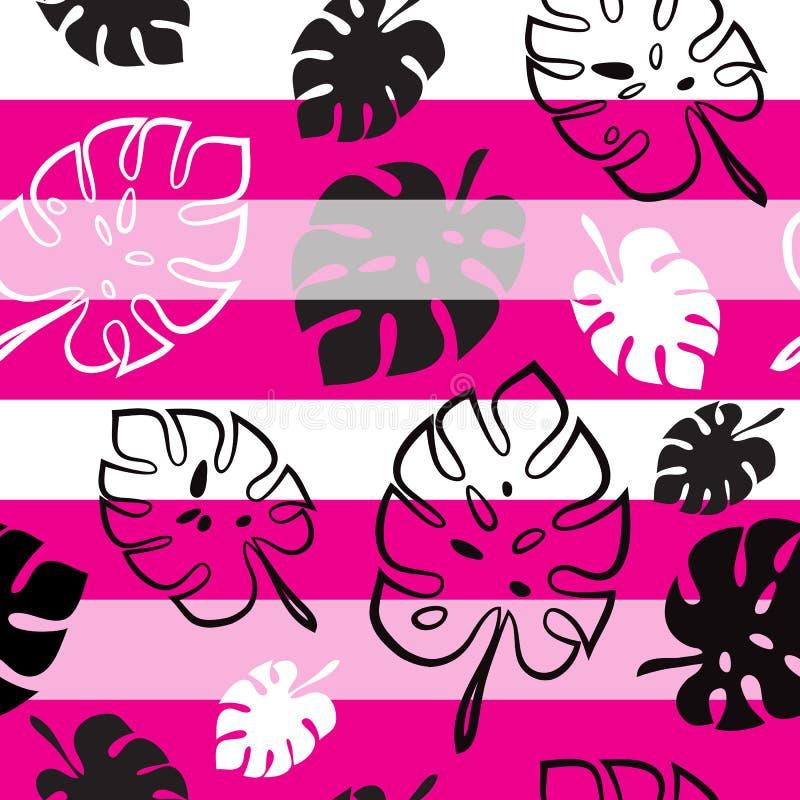 Teste padrão sem emenda da folha tropical de Monstera no fundo listrado branco e cor-de-rosa ilustração royalty free
