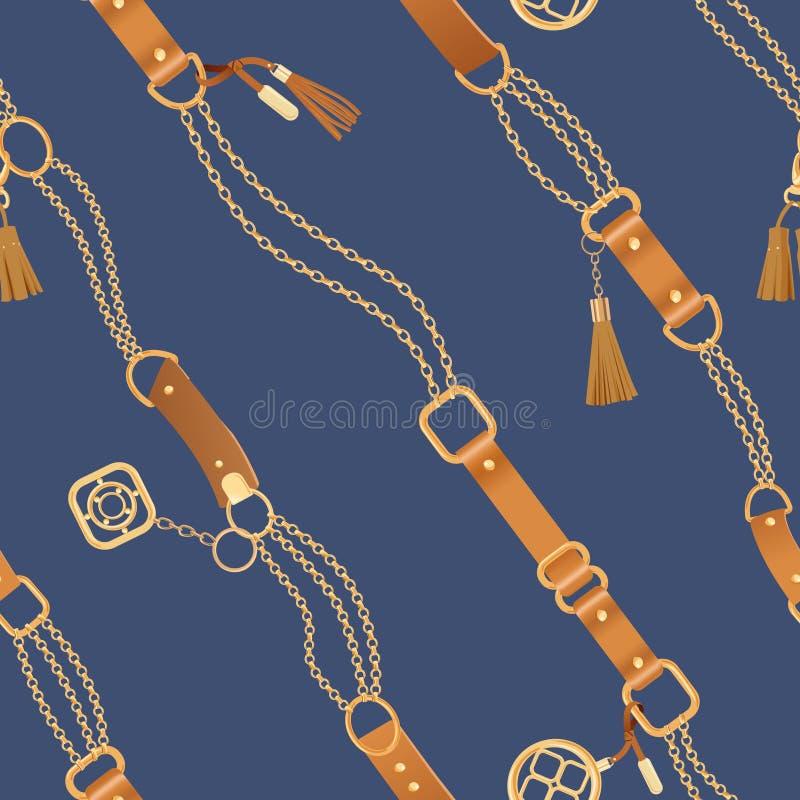 Teste padrão sem emenda da forma com correntes douradas e correias Fundo dos elementos da corrente, da trança e da joia para o pr ilustração royalty free