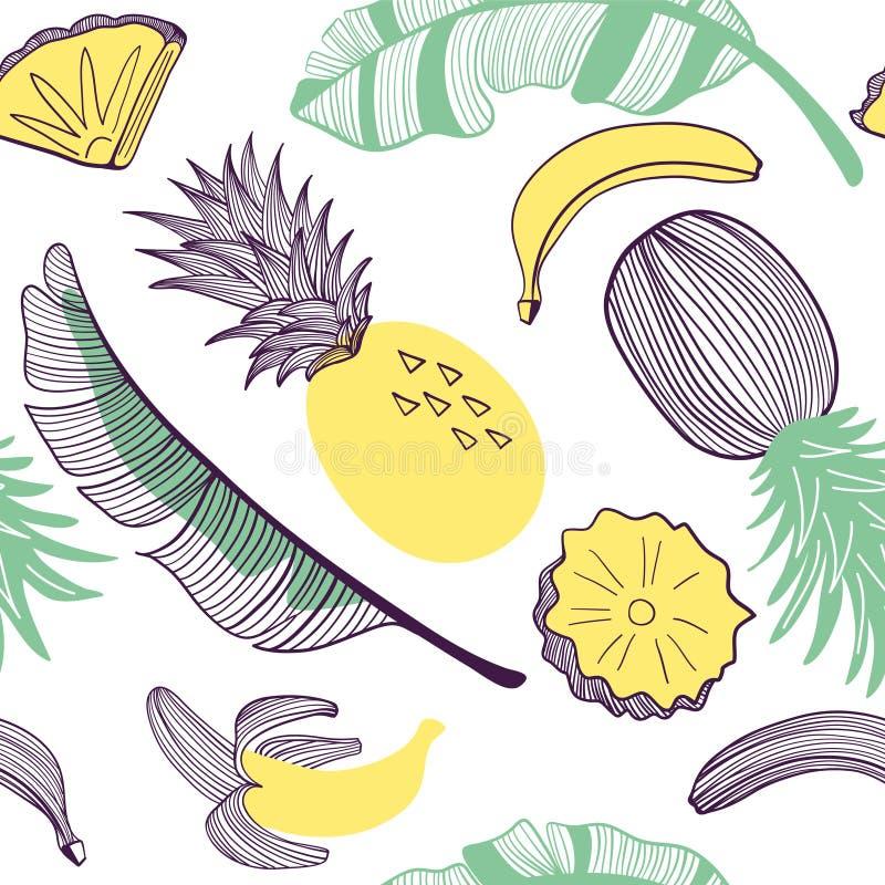 Teste padrão sem emenda da forma das bananas e do abacaxi Fruto, folha, fatia Ilustração tirada mão do vetor ajustada no plano na ilustração stock