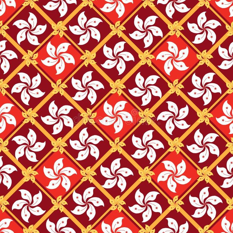 Teste padrão sem emenda da forma do diamante do elemento da bandeira de Hong Kong ilustração stock