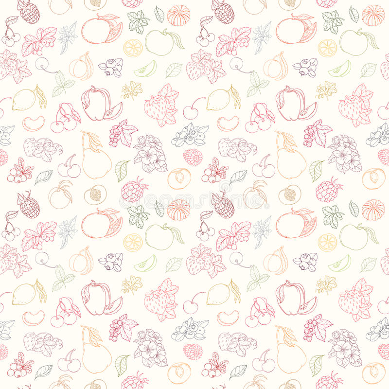 Teste padrão sem emenda da fruta ilustração stock