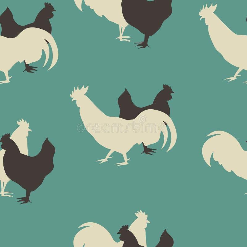 teste padrão sem emenda da galinha ilustração do vetor
