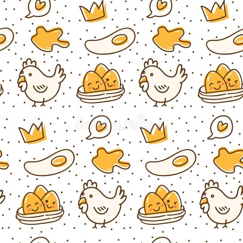 Teste padrão sem emenda da galinha e do ovo na ilustração do vetor do estilo da garatuja do kawaii ilustração do vetor