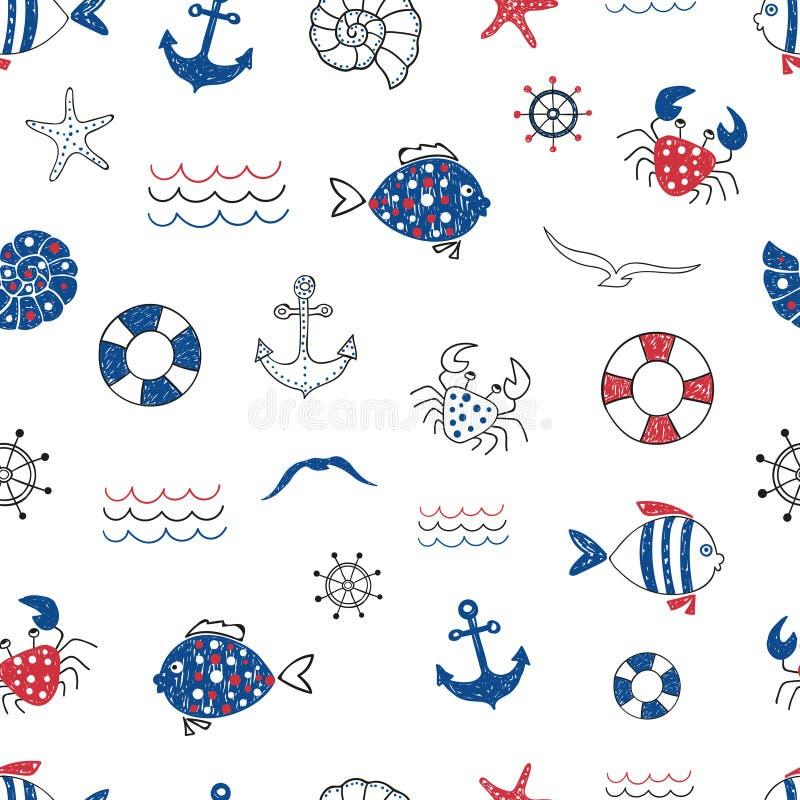 Teste padrão sem emenda da garatuja bonito da vida marinha Vector o fundo do mar com peixes, caranguejo, starfifh, âncora, gaivot ilustração do vetor