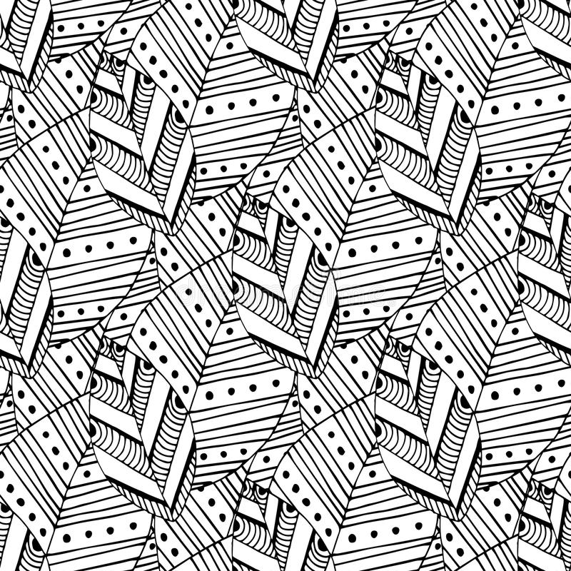Teste padrão sem emenda da garatuja com folhas étnicas Amostra de folha criativa de matéria têxtil da mola ou projeto de empacota ilustração do vetor
