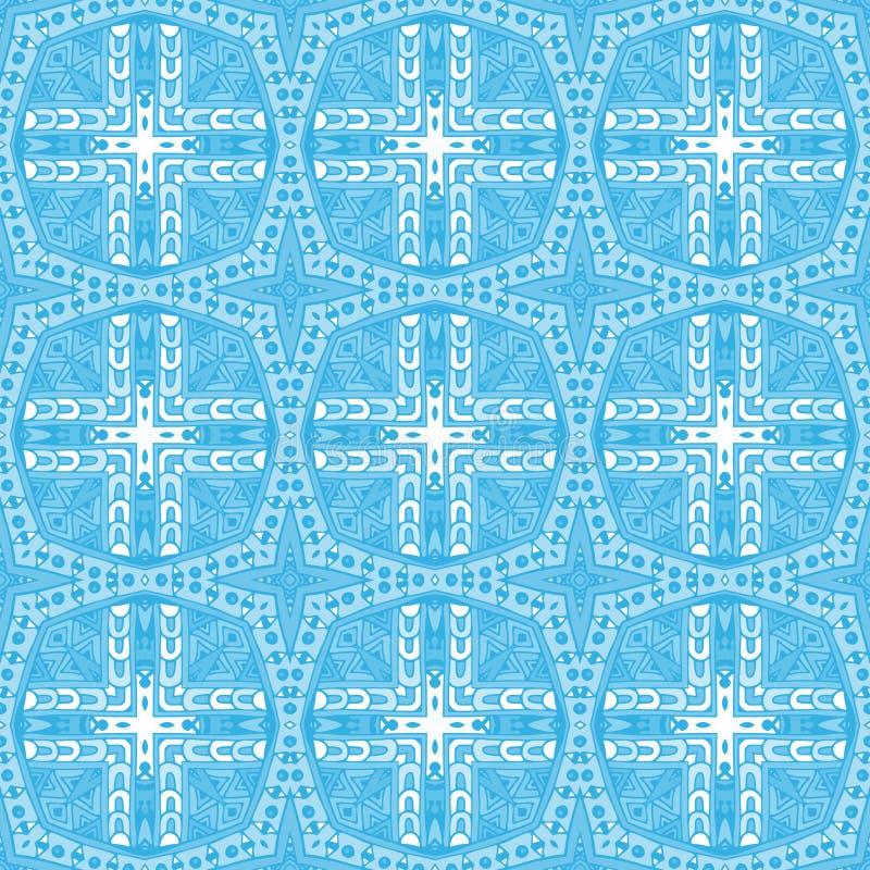Teste padrão sem emenda da garatuja geométrica azul ilustração do vetor
