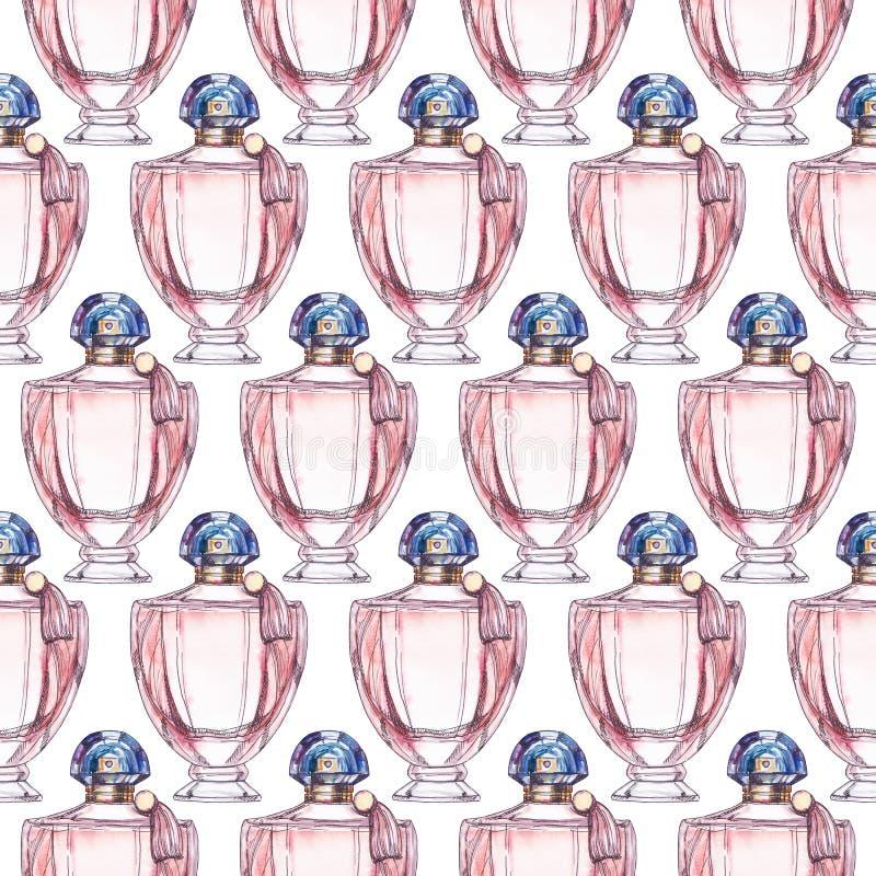 Teste padrão sem emenda da garrafa de perfume, ilustração da aquarela ilustração do vetor