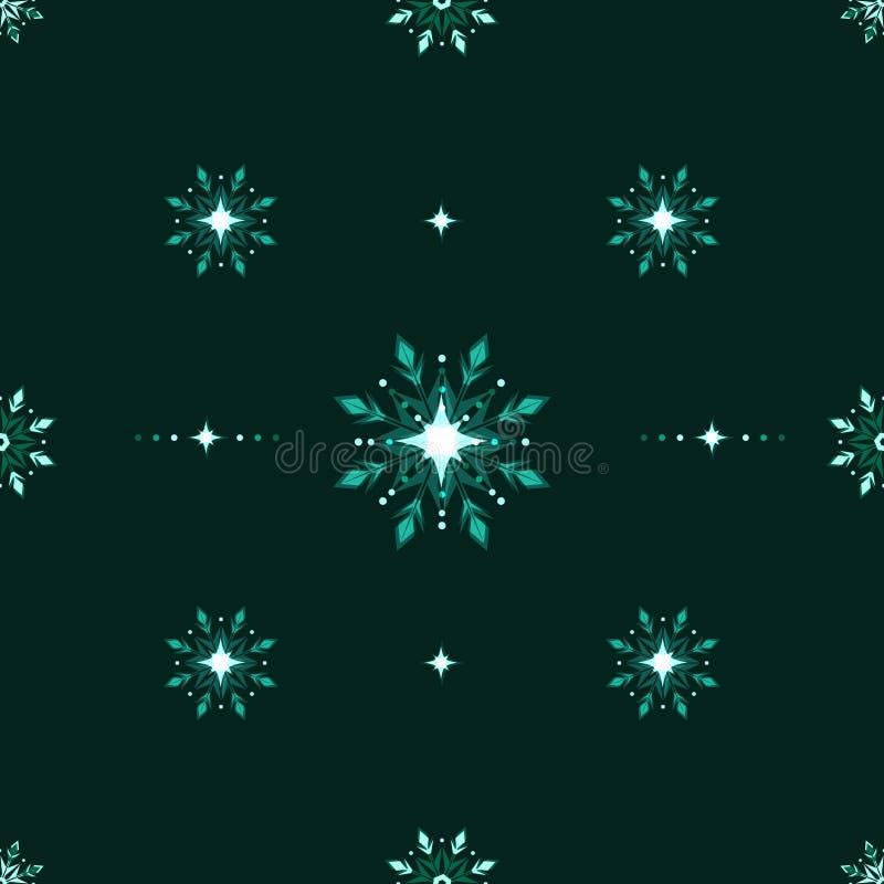 Teste padrão sem emenda da geada do gelo dos flocos de neve verdes do brilho ilustração stock