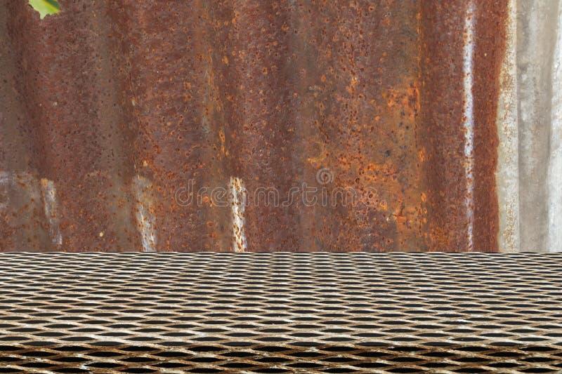 Teste padrão sem emenda da grade do metal no zinco foto de stock royalty free
